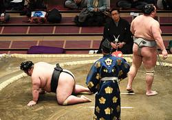 貴景勝(左)はヒザから崩れ落ち3連敗