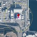 島根原子力発電所3号炉原子炉建屋と半数必中界の関係 外周から 黄 200m ノドンの最近の値とされる 青 50mシャハブ3B(ノドン改良型) 紫 10m KN-23(実際には5〜7mとされる)  ※地図に円を描く  Yahoo! JavaScriptマップ API版より
