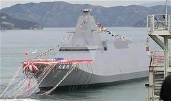 進水した海上自衛隊の新型護衛艦「くまの」=19日午後、岡山県玉野市(彦野公太朗撮影)