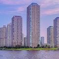 ラグジュアリーなウオーターフロント、墨田区の高層ビル群