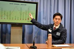 緊急記者会見で不要不急の外出を控えるよう訴える大阪府の吉村洋文知事=2020年3月27日午後8時34分、津久井達撮影