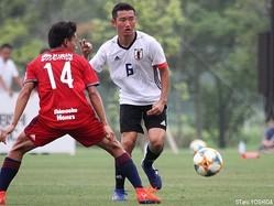 U-17日本代表の主軸ボランチ、MF横川旦陽(湘南U-18)は右SBとしてもプレー