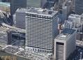 丸紅新本社ビル(中央)=2020年4月14日、東京都千代田区大手町[時事通信ヘリコプターより]