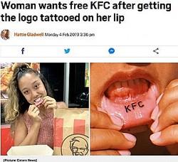 唇にKFCのタトゥーを彫った女性(画像は『Metro 2019年2月4日付「Woman wants free KFC after getting the logo tattooed on her lip」(Picture: Caters News)』のスクリーンショット)