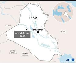 イラク・アインアサド基地の場所を示した地図。(c)SOPHIE RAMIS / AFP