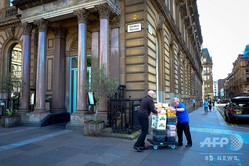 英北部スコットランドのグラスゴーにある閉鎖されたレストラン「ジェイミーズ・イタリアン」(2019年5月21日撮影)。(c)Andy Buchanan / AFP