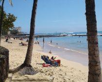 実際のワイキキビーチ。規制線をくぐって遊ぶ観光客たちの様子