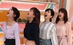 松尾由美子アナ、大きく開いた口もお見事!4姉妹が「鯉のぼり」になりきり