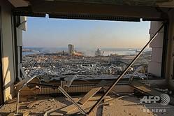 大爆発があったレバノン首都ベイルートの港湾地区の被害の様子(2020年8月5日撮影)。(c)Anwar AMRO / AFP