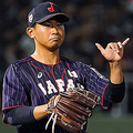 NAHA, JAPAN - NOVEMBER 01: Pitcher Shota Imanaga #21 of Japan gestures in the bottom of 3rd inning during the game two between Samurai Japan and Canada at the Okinawa Cellular Stadium Naha on November 1, 2019 in Naha, Okinawa, Japan. (Photo by Masterpress - Samurai Japan/SAMURAI JAPAN via Getty Images)