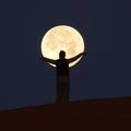 砂漠で巨大な満月を捕まえた1コマ 転がしたり抱えたり遊んでみた
