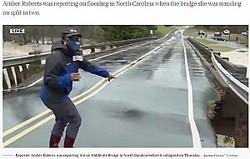 崩落寸前の橋で中継を行っていた女性リポーター(画像は『TODAY 2020年11月14日付「Bridge splits apart during live flood report in 'heart stopping video'」(@AmberFOX46/ Twitter)』のスクリーンショット)