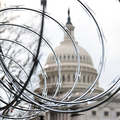 米首都ワシントンにある連邦議会議事堂の周囲に造られた治安フェンスの上部に取り付けられた有刺鉄線(2021年1月15日撮影、資料写真)。(c)SAUL LOEB / AFP