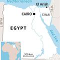 エジプト・シナイ半島にある北シナイ県アリーシュの位置を示した地図。(c)AFP=時事/AFPBB News