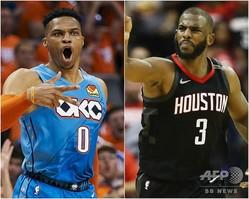 米プロバスケットボール(NBA)のラッセル・ウェストブルック(左)とクリス・ポール(2019年7月12日作成)。(c)Cooper Neill / RONALD MARTINEZ / AFP / Getty Images