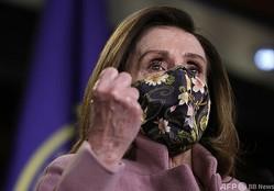 米首都ワシントンで記者会見するナンシー・ペロシ下院議長(2021年1月21日撮影、資料写真)。(c)Justin Sullivan/Getty Images/AFP
