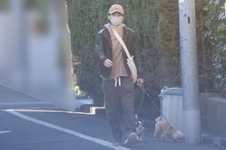 12月中旬の朝方、犬を散歩させる渡部。