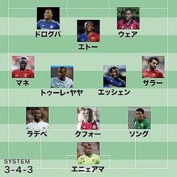 こちらが『The Sun』紙が選定したアフリカ出身選手ベスト11。どこからでも点が取れそうな強力布陣だ。
