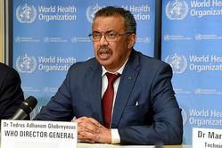 記者会見する世界保健機関(WHO)のテドロス・アダノム事務局長=2020年2月6日、ジュネーブのWHO本部、吉武祐撮影