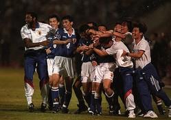 ジョホールバルでの決戦を制した日本代表は、ワールドカップ初出場を決めた。(C) Getty Images