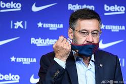 辞任を表明したスペイン1部リーグ、FCバルセロナのジョゼップ・マリア・バルトメウ会長(2020年8月19日撮影)。(c)Josep LAGO/ AFP