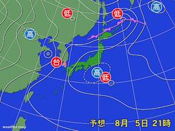 5日午後9時の予想天気図。