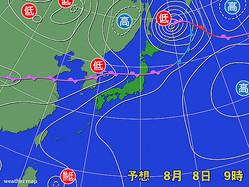 8日午前9時の予想天気図。