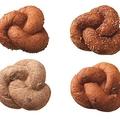 ミスタードーナツが11日から販売する新商品「むぎゅっとドーナツ」4種類。左上から時計回りに「オリジナル」「チーズ」「レーズン」「レーズンシナモン」。プレスリリースから