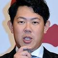 ポスティングシステムでのメジャー挑戦を表明する巨人・山口俊=パレスホテル東京(撮影・村中拓久)