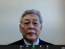 座長の賀来満夫教授(オンライン会議アプリ『Zoom』のスクリーンショット)