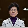 3日、香港で記者会見する林鄭月娥行政長官(AFP時事)