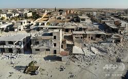 シリア北西部イドリブ県で、政府軍の空爆で破壊された村(2019年8月25日撮影、資料写真)。(c)Omar HAJ KADOUR / AFP
