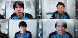 「オンライン フロンパーク」に参加した中村(左上)、小林(右上)、脇坂(左下)、登里(右下)。画面を通じてサポーターと交流した。