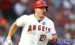ANAHEIM, CALIFORNIA - AUGUST 31: Mike Trout #27 of the Los Angeles Angels of Anaheim runs to first base after hitting an RBI single during the second inning of a game against the Boston Red Sox at Angel Stadium of Anaheim on August 31, 2019 in Anaheim, California. (Photo by Sean M. Haffey/Getty Images)