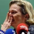 ベルギー・ブリュッセルで記者会見する、デルフィーヌ・ザクセン・コーブルク王女(2020年10月5日撮影)。(c)Kenzo Tribouillard / AFP