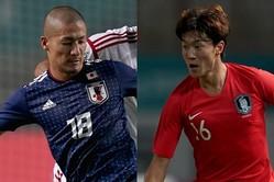 アジア大会の決勝は史上初の日韓対決に。日本は前田(左)らU−21世代で挑んでいるが、韓国はファン・ウィジョ(右)オーバーエイジを揃えている。(C)Getty Images