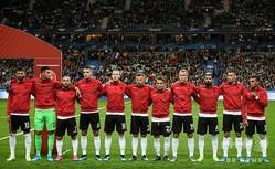 サッカー欧州選手権予選、グループH、フランス対アルバニア。キックオフ前に整列するアルバニアの選手(2019年9月7日撮影)。(c)Lionel BONAVENTURE/AFP