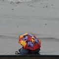 インド・ムンバイで雨の中、傘を差すカップル(2019年6月28日撮影、資料写真)。(c)PUNIT PARANJPE / AFP