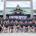英国軍ラグビーチーム靖国で写真