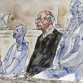 仏西部サントの裁判所に出廷した、子ども4人への性的暴行とレイプの罪で訴追された元医師のジョエル・ル・スクアルネック被告(中央)を描いた法廷スケッチ(2020年3月13日公開)。(c)Benoit PEYRUCQ / AFP