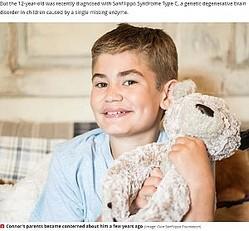 小児の認知症を患う12歳少年(画像は『Mirror 2020年10月26日付「Boy, 12, with 'childhood dementia' desperate for 'one chance to change his fate'」(Image: Cure Sanfilippo Foundation)』のスクリーンショット)