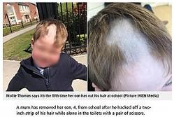 一部だけごっそり無くなってしまった4歳児の髪(画像は『Metro 2021年5月11日付「Mum removes son, 4, from school after he hacks off hair while alone in toilet」(Picture: MEN Media)』のスクリーンショット)