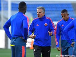 前日練習を指揮するコロンビア代表のカルロス・ケイロス監督