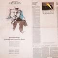 カショギ氏の「白紙コラム」を掲載したワシントン・ポストの10月2日付の紙面=ワシントン、ランハム裕子撮影