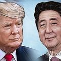 トランプ米大統領(左)と日本の安倍首相(イラスト)=(聯合ニュース)