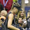 全米オープンテニス、女子シングルス1回戦。コートを後にするマリア・シャラポワ(2019年8月26日撮影)。(c)Kena Betancur / AFP