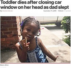 パワーウィンドウに首を挟まれて死亡した2歳女児(画像は『New York Post 2019年9月19日付「Toddler dies after closing car window on her head as dad slept」(Facebook)』のスクリーンショット)
