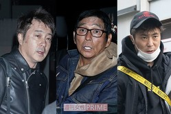 直撃に応じる(左から)加藤浩次、明石家さんま、入江慎也