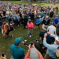 男子ゴルフ米国ツアー、バルスパー選手権3日目。ティーボックスに向かうタイガー・ウッズ(2018年3月10日撮影)。(c)Michael Reaves/Getty Images/AFP
