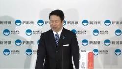 米山隆一知事が使っていた「ハッピーメール」って?(写真は4月12日の定例会見の様子。新潟県の公式ユーチューブチャンネルから)